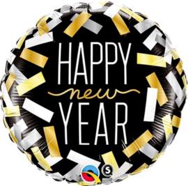Happy New Year ballon - Confetti - Goud / Zilver / Zwart - folie Ballon -  18 Inch / 45 cm