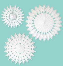 A Little Lovely Company - SnowFlakes/ Papieren Waaier - Wit - 36 cm / 50 cm/ 60 cm - 3st.