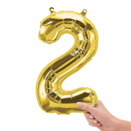 Cijfer - 2 - nummer - Goud - Folieballon (lucht) - 16inch / 40 cm