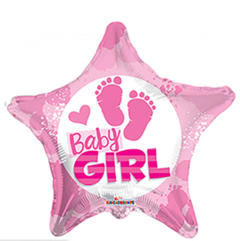 Baby Girl - Voetjes - Ster Roze - Folie Ballon - 18 Inch/46 cm