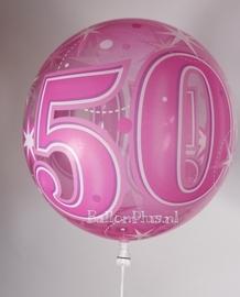 50 - Bubbles Ballon - Fuchsia Sterren  - 22 Inch/56cm