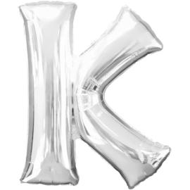 Letter K ballon zilver 86 cm - folieballon letter alfabet helium of lucht