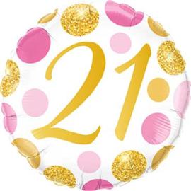 21 Folie ballon - Wit met Roze en Gouden Opdruk -18 inch/45cm