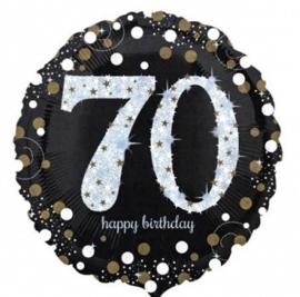 70 - Folie Ballon- Happy Birthday -Confetti  Zilver / Zwart  17 Inch / 43 cm.