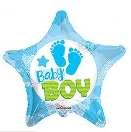 Baby Boy - Voetjes - Blauw - Ster - Folie ballon - 18 Inch/46cm