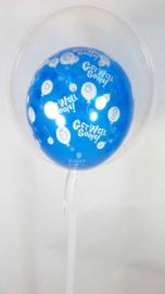Decoratie Helium Ballon  -  Transparant met Get Wel Soon Latex Ballon  / kan ook  met andere kleuren - 20 Inch/50cm - met Wit Lint