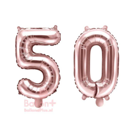 Getal - 50 - Cijfers /  Nummers - Rose Goud - Folie Ballon (lucht) 35 cm