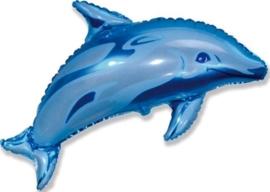Dolfijn - Blauw - Folie Ballon  XL - 24 Inch/ 60 cm.