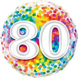 80 - Folie Ballon - Diversen Kleuren Confetti opdruk - 18 Inch. / 46 cm