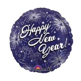 Happy New Year - vuurwerk - blauw - Folie Ballon - 17Inch/43cm