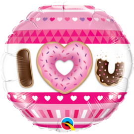 I love you - Donut print - Folie ballon -  18 inch/45cm.