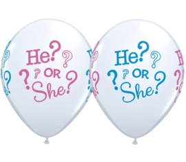 He? or She? - bedrukt Roze / Blauw - Latex Ballon - 11 Inc h/ 27,5 cm - Gender reveal party