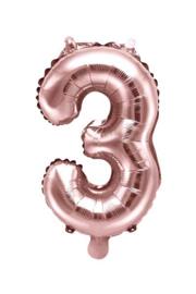 Cijfer -3- nummer - Rose Goud - Folie Ballon (lucht) 35 cm