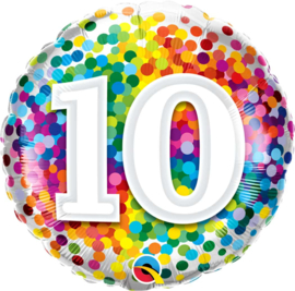 15 - Regenboog Confetti Folie Ballon - Rond - 18in/46cm