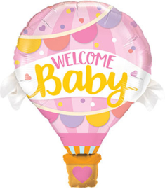 Welcome Baby - Luchtballon - Roze - Folieballon - 42 Inch/107 cm