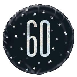 60- Zwart/Zilveren Folie ballon - 18 Inch/46 cm