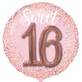 Sweet 16 - Roze/Goud - XXL Folie ballon- met een 3D effect - 27 Inch/68cm