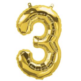 Cijfer - 3 - nummer - Goud - Folie ballon (lucht) - 16inch / 40 cm