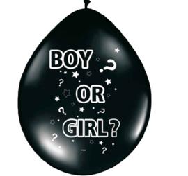 Boy or Girl? - Zwarte Gender Reveal Latex Ballonnen - 12 inch/30 cm - 8 st.