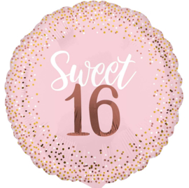 Sweet 16 - Roze/Rose Goud - XL Folie Ballon - 28 Inch/71 cm