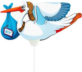 Ooievaar Boy - Folie Ballon - 21 cm ( lucht)