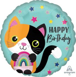 Happy Birthday -Lapjes Kat met regenboog - 17 Inch/43 cm
