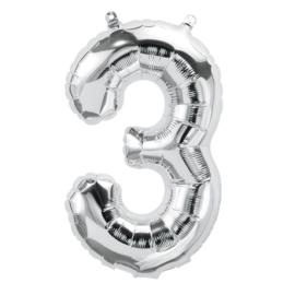 Cijfer - 3 -nummer - zilver - Folie ballon (lucht) - 16inch / 40 cm