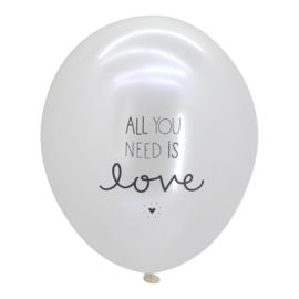 A Little Lovely Company  - All you need is love  - Pearl White -  Latex ballon - 12 inch / 30cm