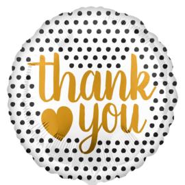 Thank You - Gouden letters - Folie Ballon - 17 Inch/43 cm