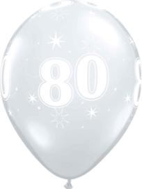 80 - Nummer - Doorzichtige - latex ballon - 11 Inch. / 27,5cm- 5st.