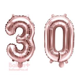 Getal - 30 - Cijfers /  Nummers - Rose Goud - Folie Ballon (lucht) 35 cm
