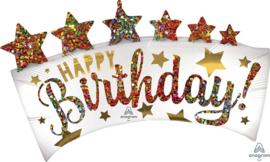 Happy Birthday - XXL Banner Folie Ballon - 34x19 Inch/ 86x48 cm