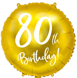 80th Birthday! - Gouden Folie Ballon - 18 Inch/45cm