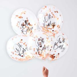 Confetti Ballonnen -Rose Goud - Oh Baby! opdruk -Doorzichtige Latex Ballonnen- 12 Inch/ 30 cm - 5 st.