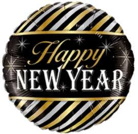 Happy New Year - Goud / Zilver / Zwart - folie Ballon -  18 Inch / 45 cm