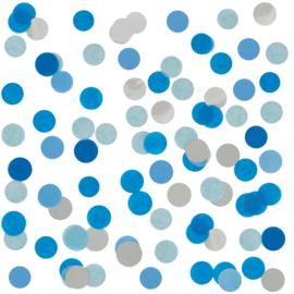 Confetti - My Little Day - Blauw wit / Zilver  - tissue papier  -2,5 cm / 15 gr.