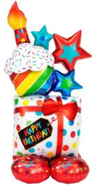 Staande Mega Kado met Cupcake Ballon- XXL Folie Ballon - 55 Inch/139cm(Lucht)