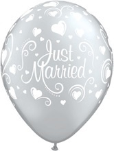 Just Married -Zilver - Latex Ballon - 11 Inch / 27,5 cm