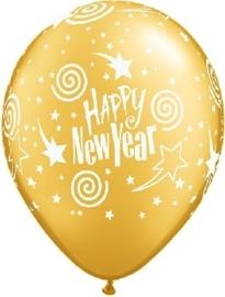 Happy New Year -Goud -  Latex Ballon - 11 Inch / 27,5 cm - 3st