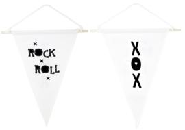 A Little Lovely Company - Kids - Muur vlag - x Rock x Roll x / XOX - 2 kanten bedrukt - Woonaccessoire