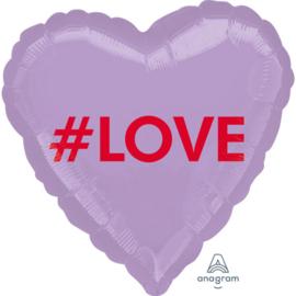 #LOVE -  Paarse Hart folie ballon - 17 Inch/43 cm