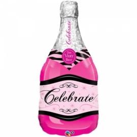 Champagne fles - Celebrate - Roze - Personaliseerbaar - XXL Folie Ballon - 39 Inch / 92,5 cm