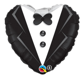 Bruidegom pak- hart-  Folie Ballon - 18 inch/45cm