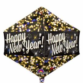 Happy New Year ballon - Confetti - Goud / Zilver / Zwart - Hoekige folie Ballon - 17 x 21 Inch / 43 x 53 cm