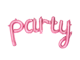 Party -Roze Folie Ballon - Handgeschreven / Script - 80x40cm (lucht)