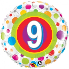 9 - Folie ballon -   kleurige Stippen- 18 inch/45cm