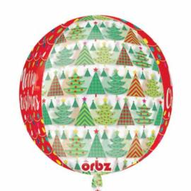 Merry Christmas - Kerstboom / Lampjes - Rood / Groen - Orbz Ballon - 15x16 Inch/38x40 cm