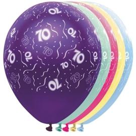 70 - Nummer -Blauw / Geel / Groen - latex ballon - 11 Inch. / 27,5 cm