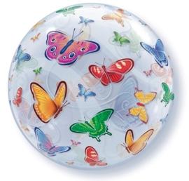 Vlinders - Div. kleuren - Doorzichtige Bubbles ballon - 22 Inch / 56 cm