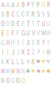 Pastelkleurig letters & symbolen- 85st. – Voor in de  A4 of A5 lightbox